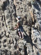 Rock Climbing Photo: A climber following on Route #4.