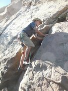 "Rock Climbing Photo: Tony starting up ""Xeno Dance."""