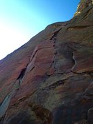 Rock Climbing Photo: Top of pitch 1 before linking pitch 1 and pitch 2....