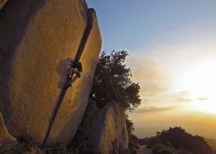 Rock Climbing Photo: Crucible at sunset. Side view of its overhang