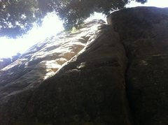 Rock Climbing Photo: Event Horizon is the line left of the big offwidth...