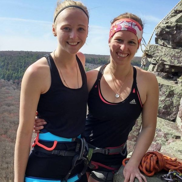 Rock Climbing Photo: Setting anchors at Devil's Lake with my girl Kelly