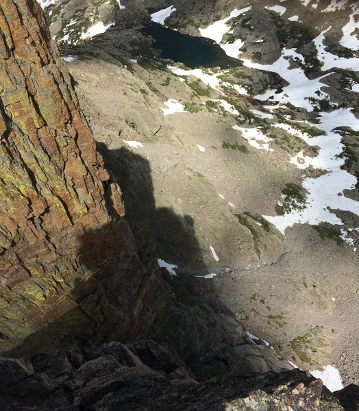Rock Climbing Photo: Looking down at Lake of Glass 06/20/15. Climber on...