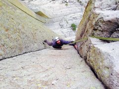 Showing THE move on El Matador at Devils Tower.