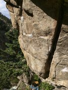 Rock Climbing Photo: Start of GI moves left out of the crack feature to...