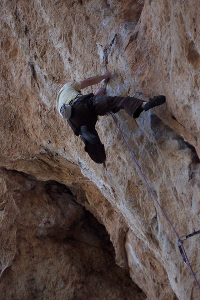 Rock Climbing Photo: Sticking the crux move