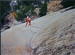 Rock Climbing Photo: Looking down to the belay on top of P1 of Iron Cro...