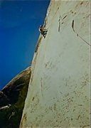 Mark Wagner leading the crux pitch #2 on Quiet Desperation, circa 1985.