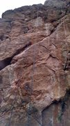 Rock Climbing Photo: The blue rope shows the line of the route.