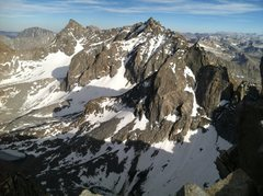 The summit view SE from Mt. Agassiz on June 20th at 6:30pm toward Thunderbolt, N. Pal., Mt. Sill, etc.