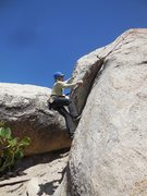 Rock Climbing Photo: Brendan working the lieback moves on the rounded e...