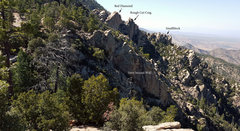 Rock Climbing Photo: The San Pedro Vista crags.  The parking lot is obs...