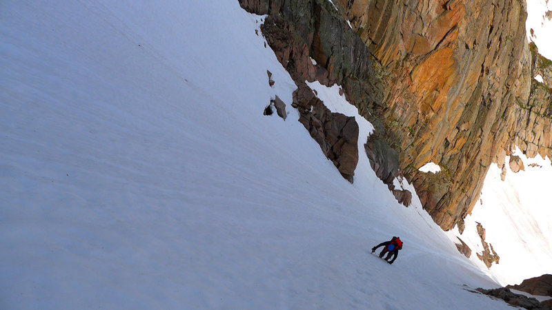 Midway up McHenry's Notch Couloir in late spring / early summer conditions.
