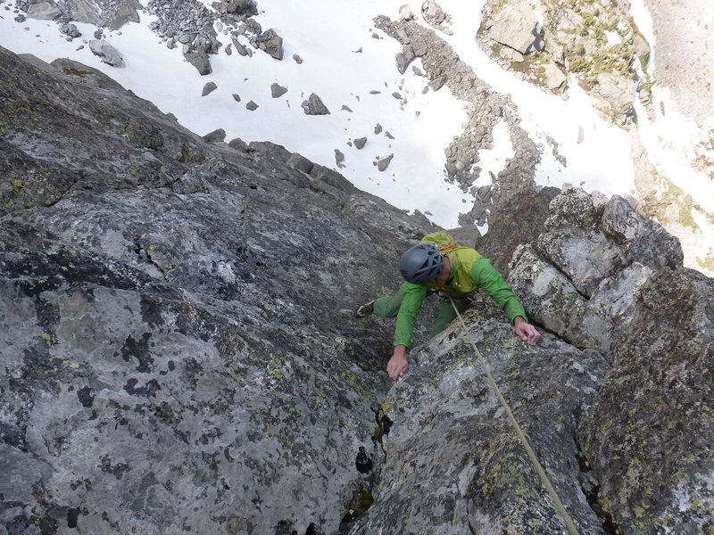 """Near the top on the """"Bolt Pitch"""" of the Second Buttress Tour."""