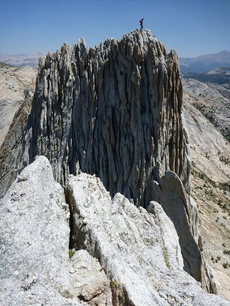 Two guys free soloing Matthes Crest South to North.