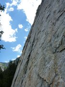 Rock Climbing Photo: You can barely see them, but there is a person lea...