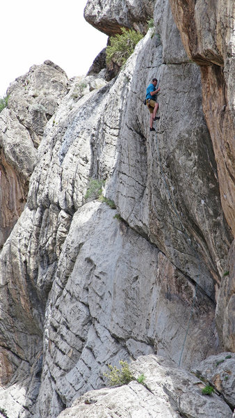Above the crux on K-6.