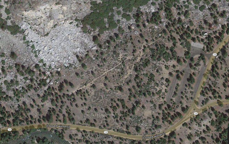Aerial map of boulders.