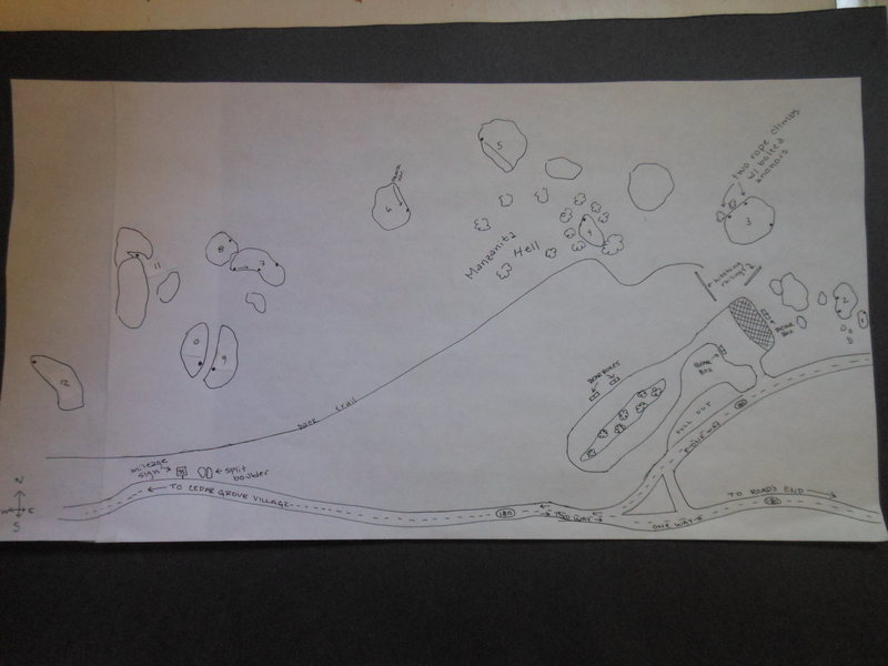 Rock Climbing Photo: Drawn map of Northwest Lot boulders.