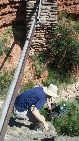 This is the pipe you will cross early on when hiking to the climbing area. Park after the Cactus camping area.