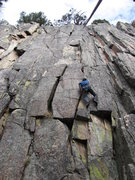 Rock Climbing Photo: Terry's Crack goes up crack climber is on then mov...