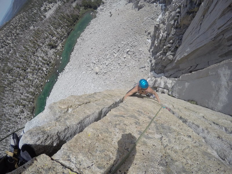 Rock Climbing Photo: Keri Davis approaching the pitch 2 anchors on perf...