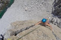 Rock Climbing Photo: Keri Davis on the second pitch splitters