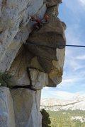 Rock Climbing Photo: Luke Lydiard cruising through the pitch 1 crux