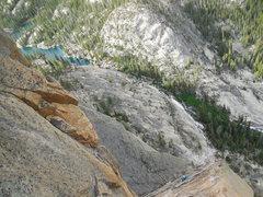 Rock Climbing Photo: Looking down Pitch 3