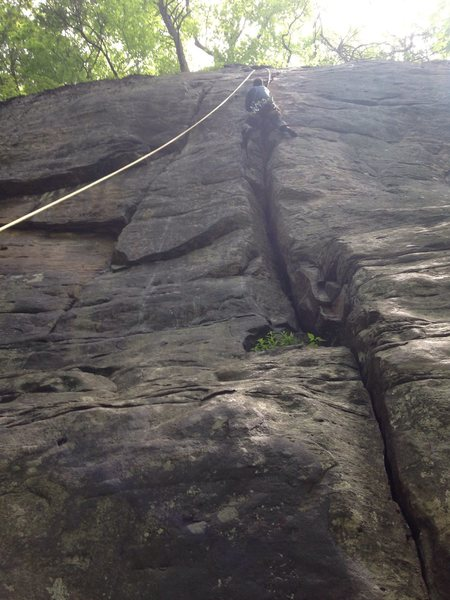 Kieth cruising through the crux