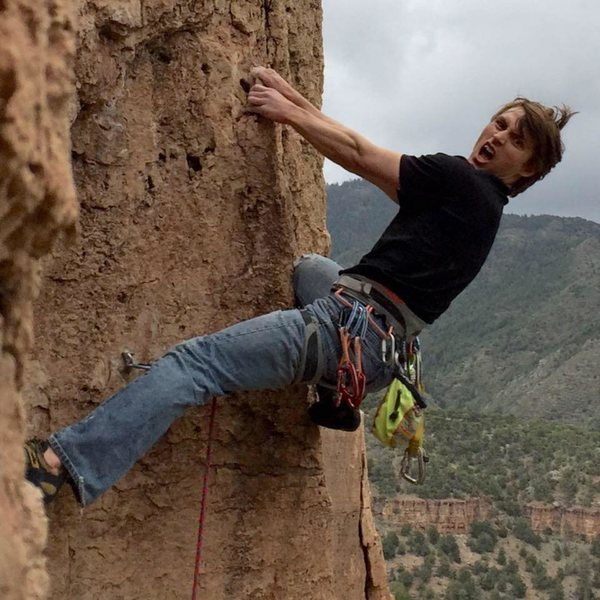 Photo credit to James Martin especially since he took it while climbing!  Politically Incorrect on The Bank at Shelf Road, CO