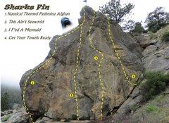 Rock Climbing Photo: Shark's Fin topo.