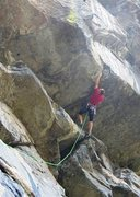 Rock Climbing Photo: Midway through the crux, making a big reach out to...