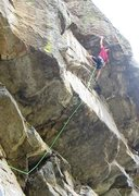 Rock Climbing Photo: Moving out to the finger bucket on the direct fini...