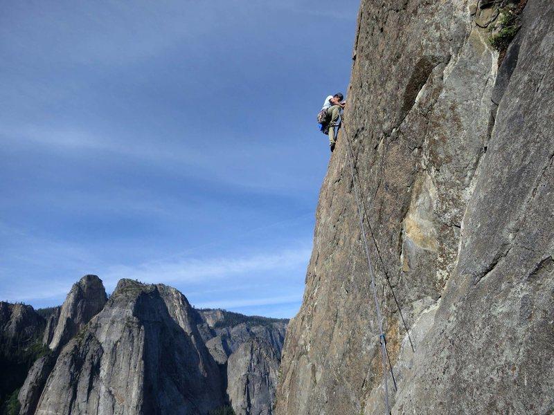 Hiroshi leading p3, East Buttress of El Cap