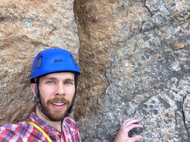 Leading second pitch of Gelsa at the Gunks.