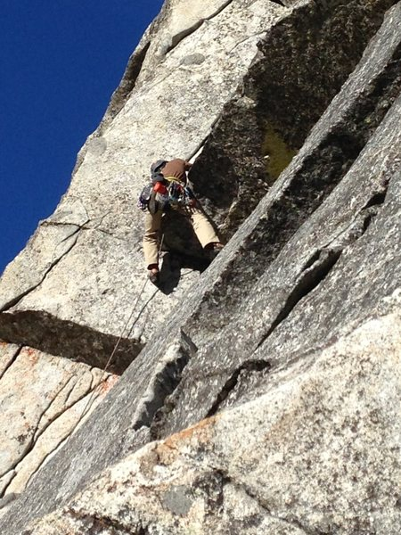Rock Climbing Photo: Dude working one of the crux moves on (I believe) ...
