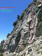 Rock Climbing Photo: Topo showing most routes as of June 2015