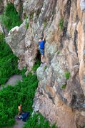 Rock Climbing Photo: John stretching it out a bit on Cookie Monster. Ju...