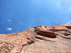 Rock Climbing Photo: Brandon on pitch 4 on FA.