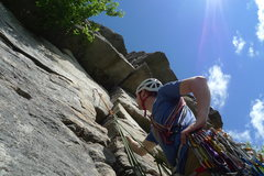 Rock Climbing Photo: Jesse looking up at Shockley's Ceiling.  We traver...