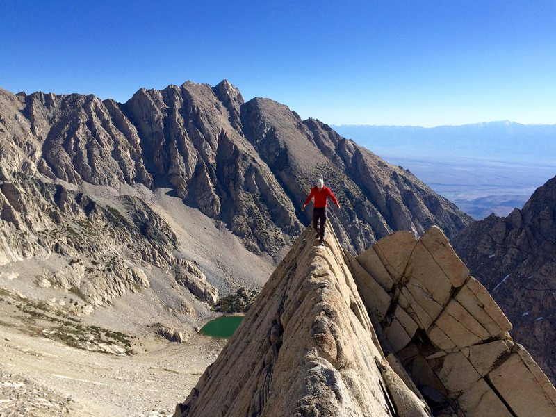 Peter Pribik bravely walks the line on the East Arete of Mt Humphreys