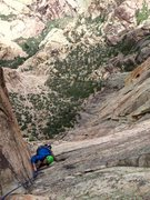 Rock Climbing Photo: Josie McKee on of the lower dihedral pitches (3? 4...