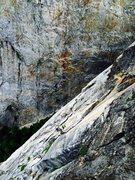 Rock Climbing Photo: Josie McKee following up the white bongo flake hig...