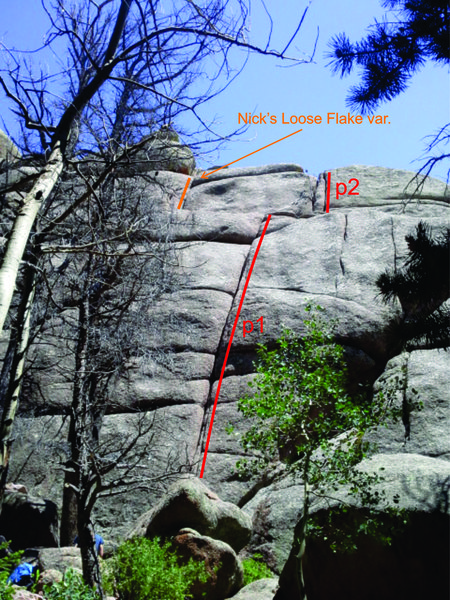 Rock Climbing Photo: View from the trail: lines drawn next to (not on) ...