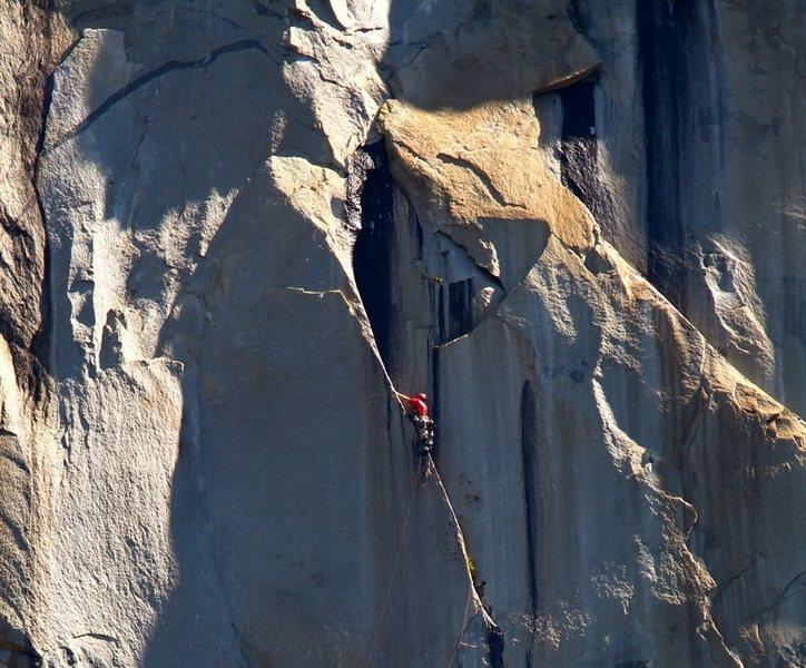 Rock Climbing Photo: Early morning sun hits the Straw.