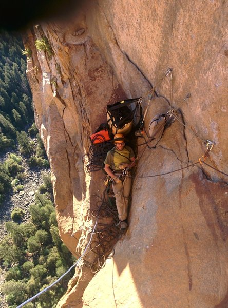 Nice belay on the last real aid pitch before Dano ledge