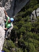 Rock Climbing Photo: Jay coming up to belay station after first pitch. ...