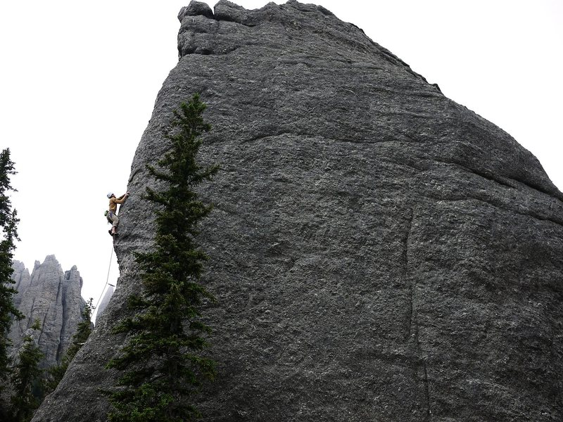 Rock Climbing Photo: Me on an unknown bolted climb on a blocky peak at ...