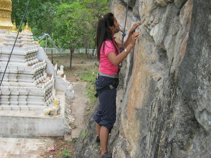 Ma Thin Thin Myat on Training Crag.